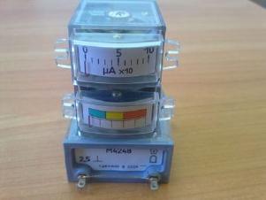 Микроамперметр М4247, 21х40х53мм100мкА,посадочное отверстие 30х21мм
