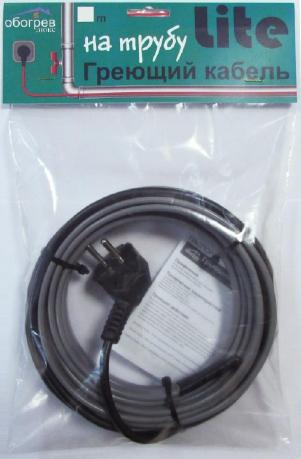 Греющий кабель на трубу 1 метр Обогрев Люкс Lite cекция для водопровода