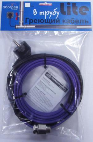 Греющий кабель в трубу 4 метра для питьевого водопровода Обогрев Люкс Lite секция с сальником