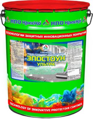 Эпостоун-Ультра - водно-эпоксидная эмаль для бетонного пола (глянцевая). Тара 22кг