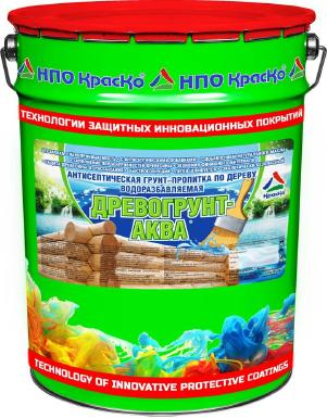 Древогрунт-Аква — антисептическая грунт-пропитка по дереву на водной основе, 20кг