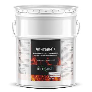 АПИТЕРМ+ Водно-дисперсионная огнезащитная вспучивающаяся краска для защиты изделий и конструкций из цельной древесины (20 кг)