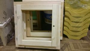 Оконный блок банный ЛП 500*500 мм двойной без стекла