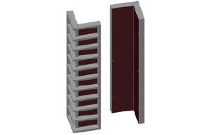 Опалубка стеновая - Щит угловой наружный 0,6*0,6*3,0м (стальной)