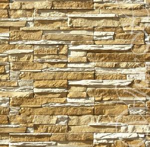Облицовочный фасадный камень Норд Ридж 270-10 с угловыми элементами.
