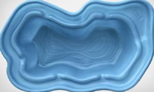 Декоративный цветной пластиковый садовый пруд 750л. Цвет: Cиний